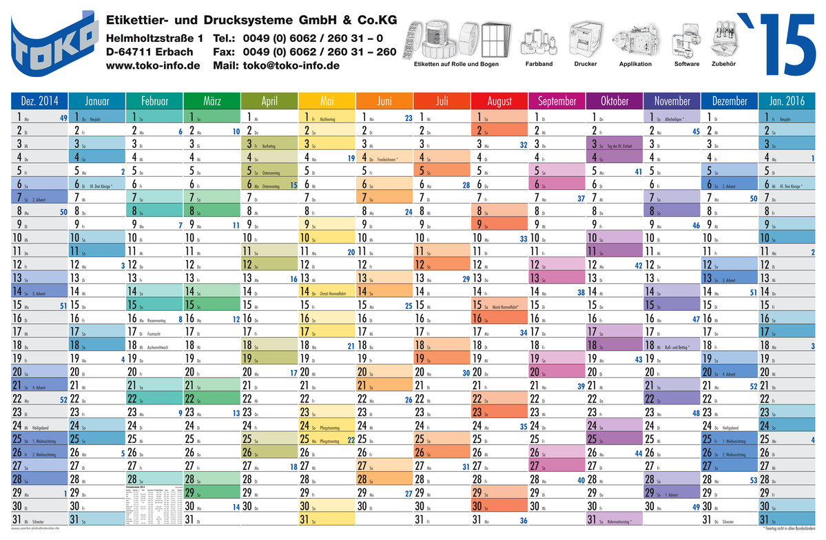 vector of daily monthly yearly planning chart year 2015 royalty